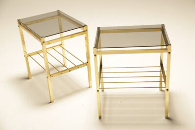 Hollywood Regency Brass & Glass Bedside Tables