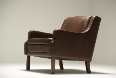 Danish Brown Leather Arm Chair