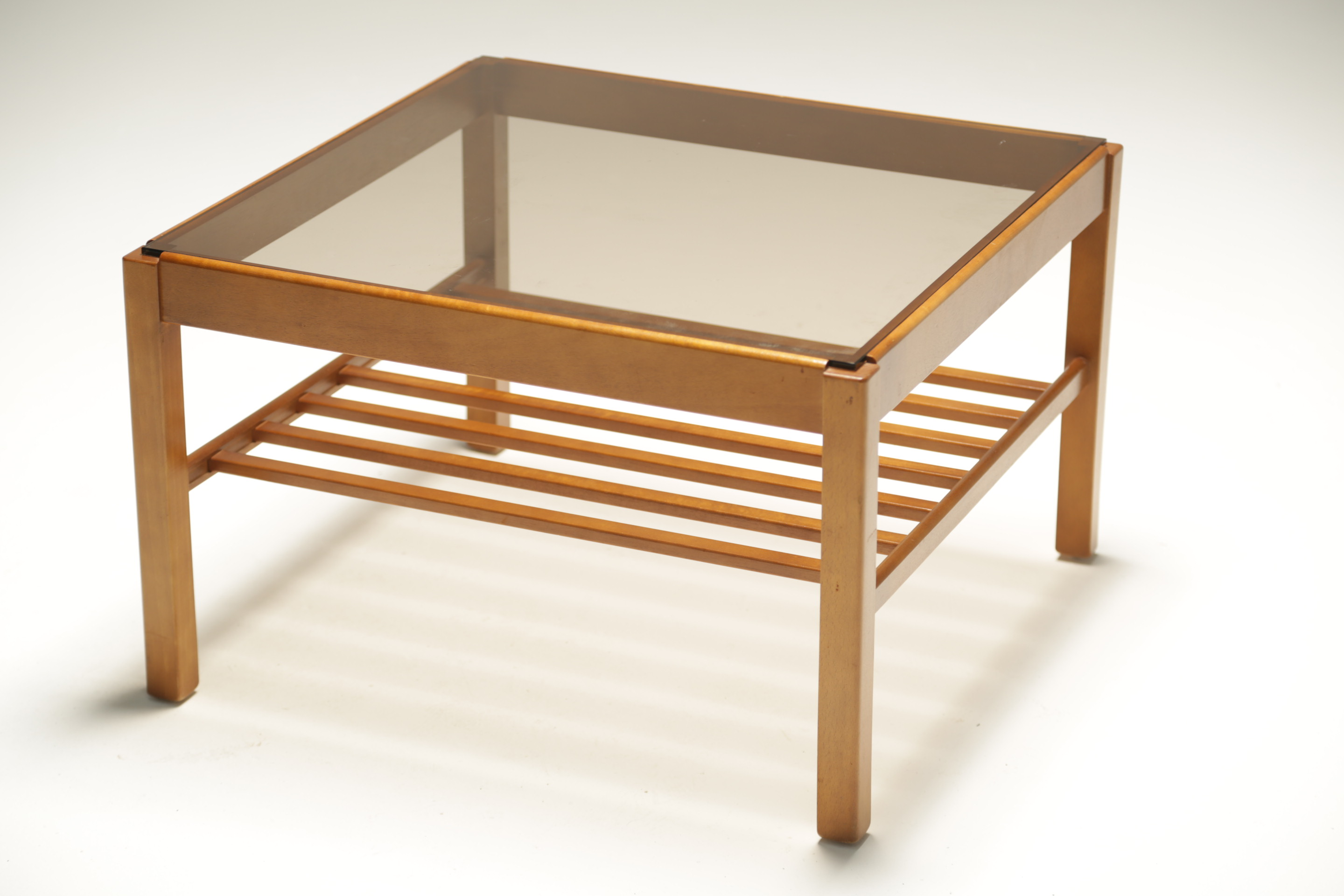 Teak Glass Square Coffee Table with a Magazine Rack ...