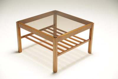 Teak Glass Square Coffee Table with a Magazine Rack