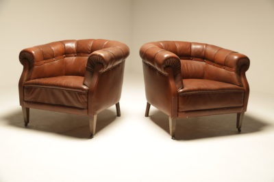 Studded Leather Chesterfield Armchairs