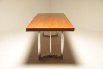 Teak Dining Table on Chrome Base