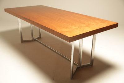 Teak Dining Table on Chrome Base vintage dining table dublin