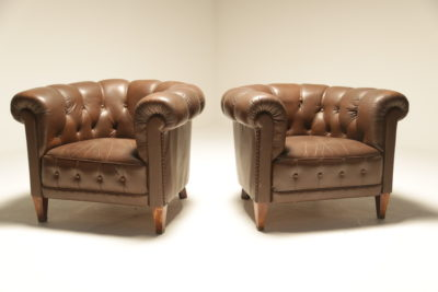 Buttoned Chesterfield Style Armchairs in Brown Leather