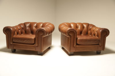 Swedish Tan Leather Chesterfield Armchairs vintage chesterfield armchair