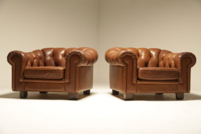 Swedish Tan Leather Chesterfield Armchairs