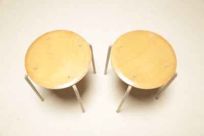 Vintage Plywood Top Industrial Stools
