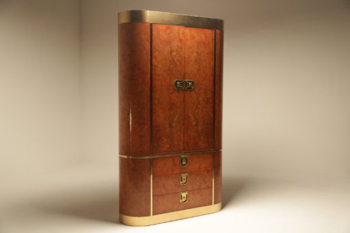 Burlwood and Brass Hollywood Regency Armoire by Mastercraft