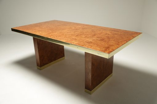Pierre Cardin Burl & Brass Dining Table midcentury furniture Dublin Ireland