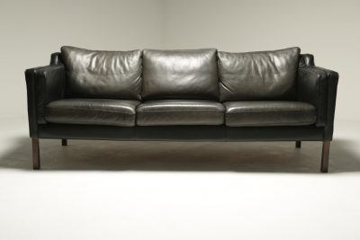 Vintage Danish Black Leather Sofa Borge Mogensen style