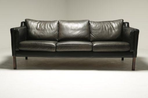 Vintage Danish Black Leather Sofa Borge Mogensen style