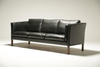 Borge Mogensen Style Leather Sofa retro leather sofa