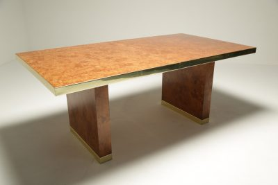 Pierre Cardin Burl & Brass Dining Table hollywood regency dining table