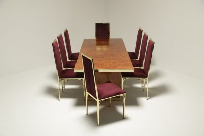 Pierre Cardin Burl & Brass Dining Table vintage furniture warehouse Ireland