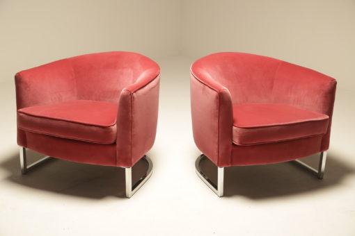 Chrome & Velvet Lounge Chairs by Bernhardt Furniture Co.