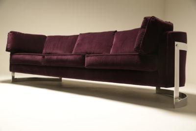 Mid-century Chrome Curved Sofa in Luxe Plum Velvet
