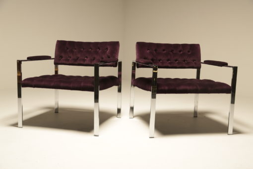 Chrome Lounge Chairs by Harvey Probber mid-century