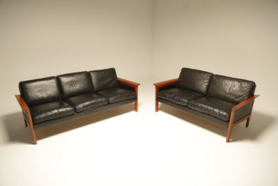 Danish Teak Frame Leather 3 Seat Sofa