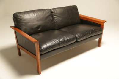 Danish Teak Frame Leather 2 Seat Sofa