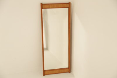 Swedish Teak Mirror with Rattan Trim vintage mid century