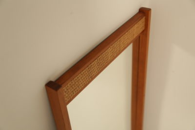 Swedish Teak Mirror with Rattan Trim