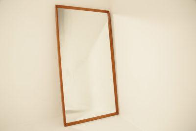Swedish Teak Bevelled Frame Wall Mirror