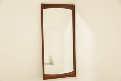 Swedish Teak Wall Mirror with Curved Insert