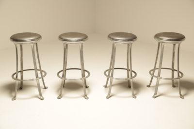 Set of 4 Aluminium Bar Stools