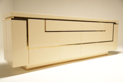 Lacquered Sideboard with Brass Trim by Jean Claude Mahey