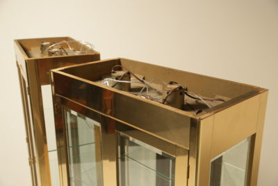 A Pair of Brass Display Cabinets by Mastercraft