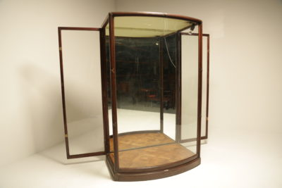 Large Edwardian Mahogany Bow Fronted Glass Shop Display Cabinet