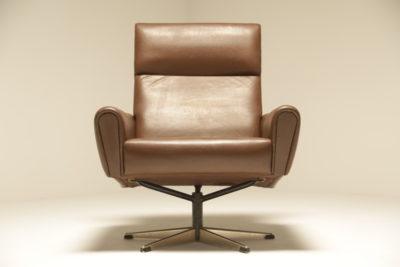 Danish Brown Leather Swivel Chair the vintage hub