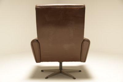 Danish Brown Leather Swivel Chair