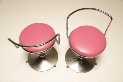Set of 6 Vintage Chrome & Pink Cafe Diner Stools