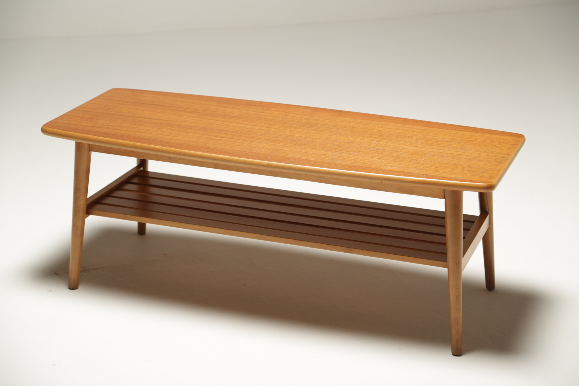 Teak Surfboard Coffee Table with magazine rack. Good ...