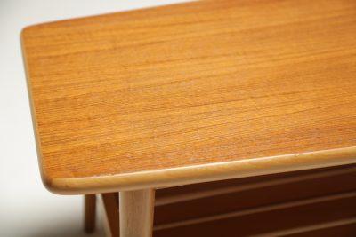 Teak Surfboard Coffee Table with magazine rack