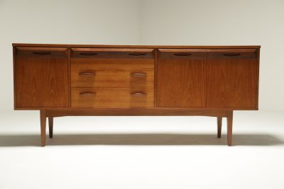 Vintage Teak Sideboard with Faceted Drawers vintage sideboard Dublin Ireland