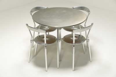 Luna Aluminium Dining set by Amos Marchant and Lyndon Anderson for Allermuir