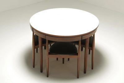 Roundette Dining Set by Hans Olsen for Frem Rojle the vintage hub