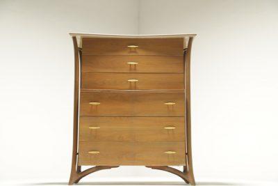 Mid-century American 6 drawer tallboy