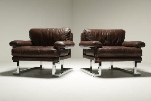 Pieff Mandarin Brown Leather and Chrome Armchairs retro furniture Dublin