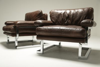 Pieff Mandarin Brown Leather and Chrome Armchairs