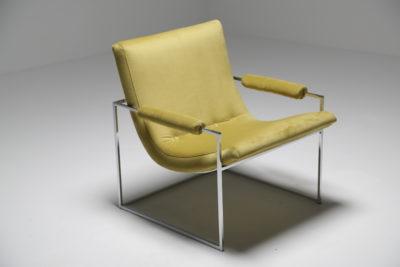 Milo Baughman Chrome and Velvet Scoop Chair