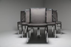Chrome & Grey Dining Chairs by Dillingham