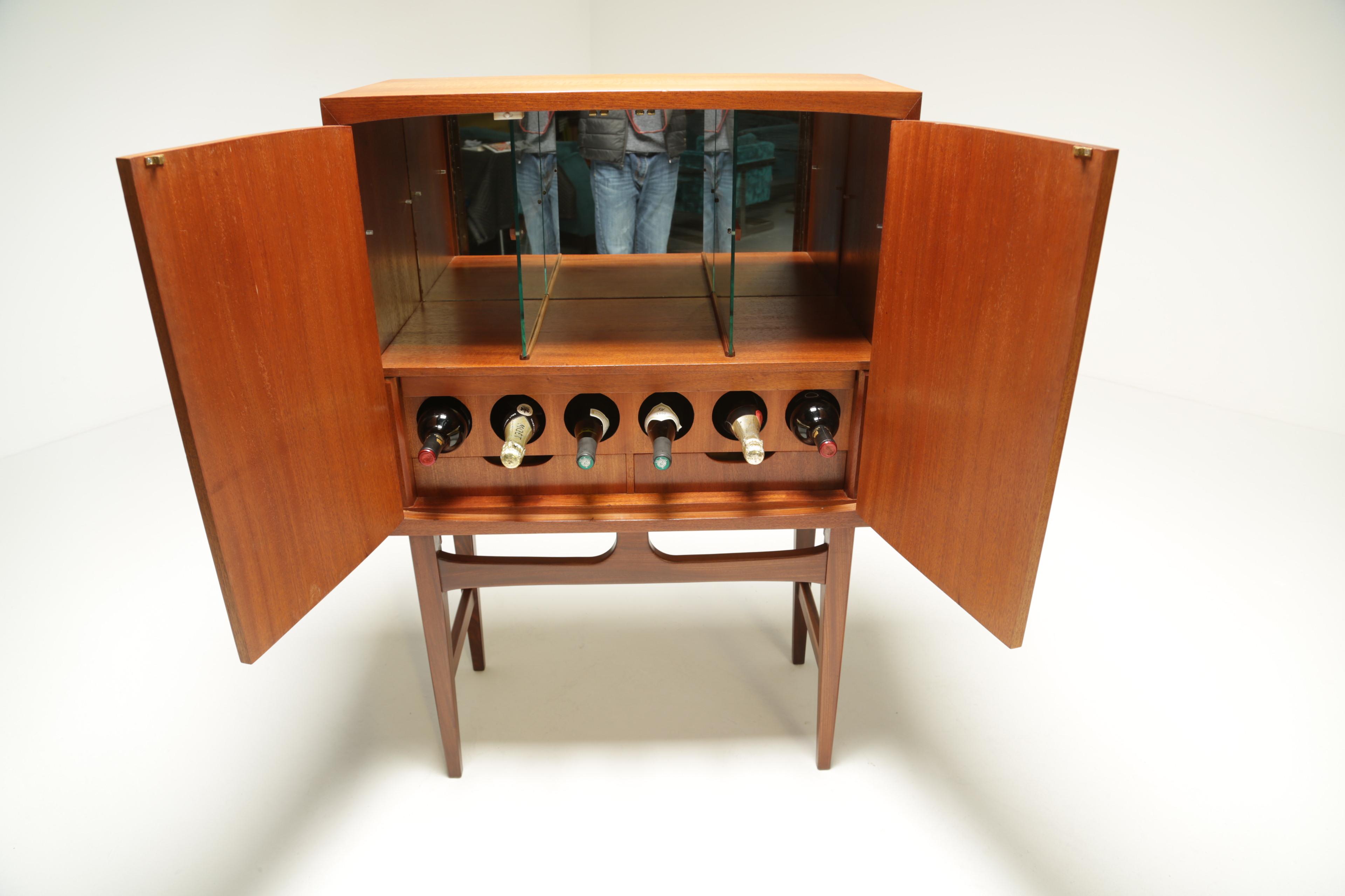 Danish Teak Bar Cabinet With Internal Light And Glass Shelving