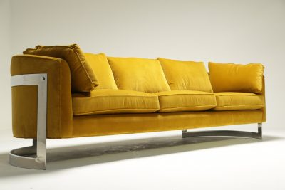 Mid-century Chrome Curved Sofa in Luxe Gold Velvet milo baughman style
