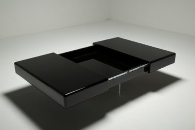 Black Lacquer Coffee Table on Perspex Base 1970s